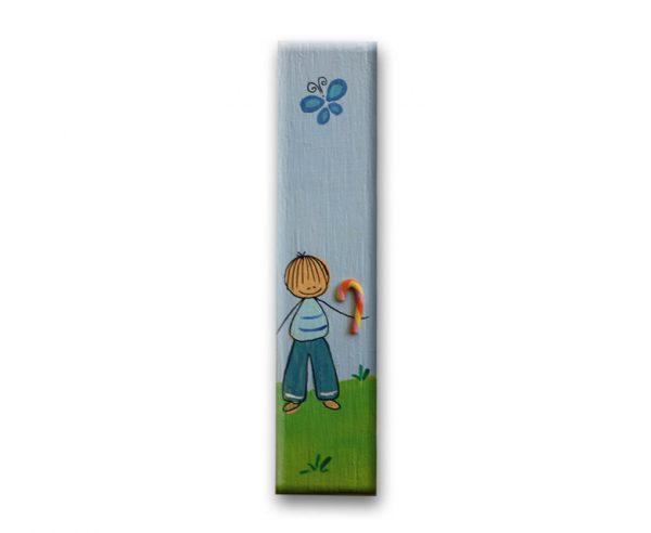 ידית מלבנית מעץ בעיצוב ילד עם פרפר 1