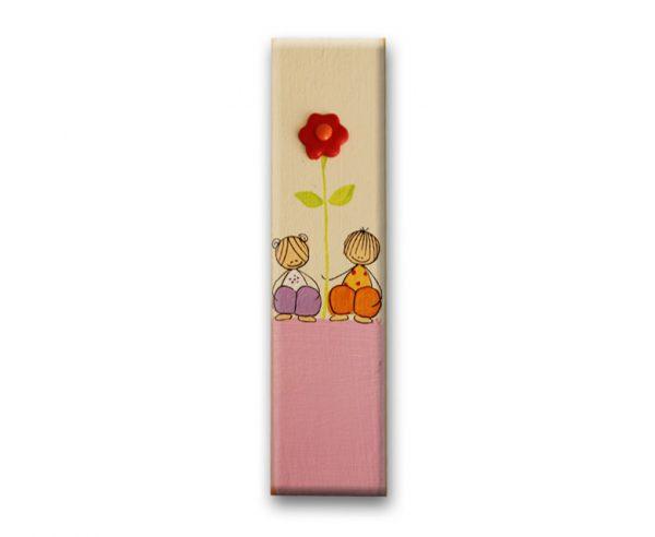 ידיות מעץ. דגם: ילדים עם פרח 1