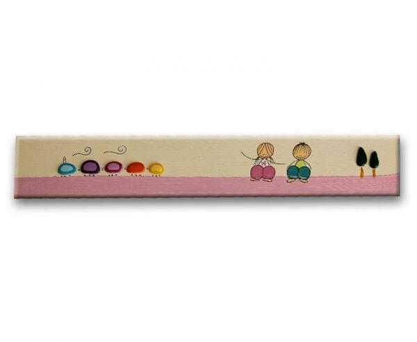 ידיות למגירה. דגם: ילד וילדה עם רכבת 1