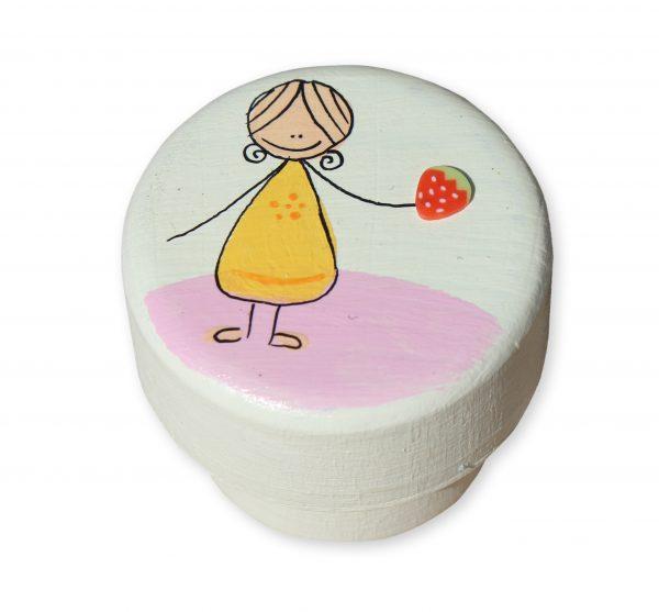 ידיות לחדר ילדות. דגם: ילדה עם תות שדה 1