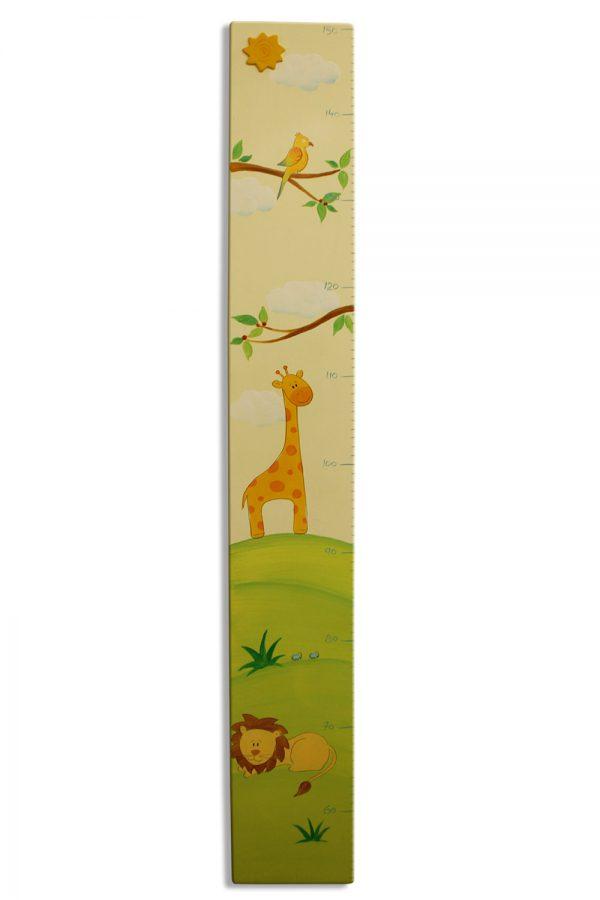 מד גובה מעץ לחדר ילדים - ג'ירפה ואריה 1