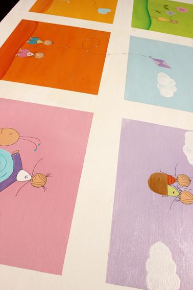שולחן וכסאות מעוצבים לילדים - 6 חלונות צבעוניים 4