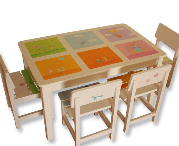 שולחן וכסאות מעוצבים לילדים - 6 חלונות צבעוניים 1