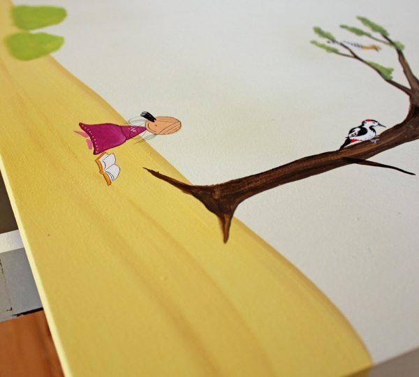 שולחן כתיבה מעוצב לילדים בתוספת מדף אחורי 4