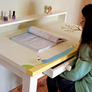 שולחן כתיבה מעוצב לילדים בתוספת מדף אחורי 5