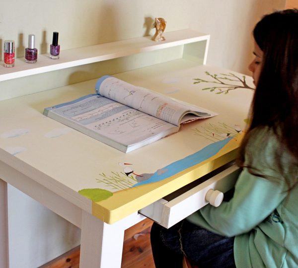 שולחן כתיבה מעוצב לילדים בתוספת מדף אחורי 2