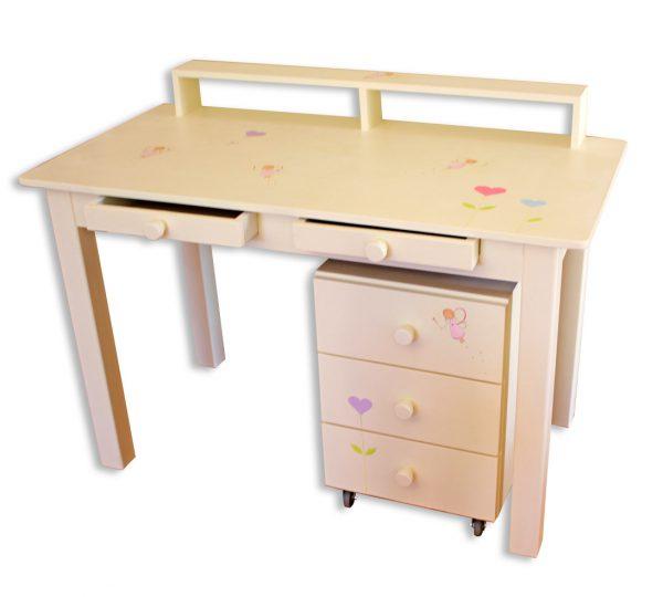 שולחן כתיבה מעוצב לילדות + יחידת מגירות מעוצבת 1