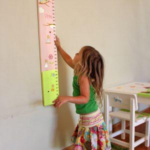 מד גובה לילדות בעיצוב ילדות עם פרחים וציפורים 5