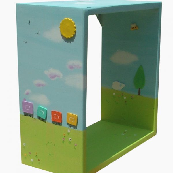 כוורת אחסון לחדר ילדים - רכבת צבעונית