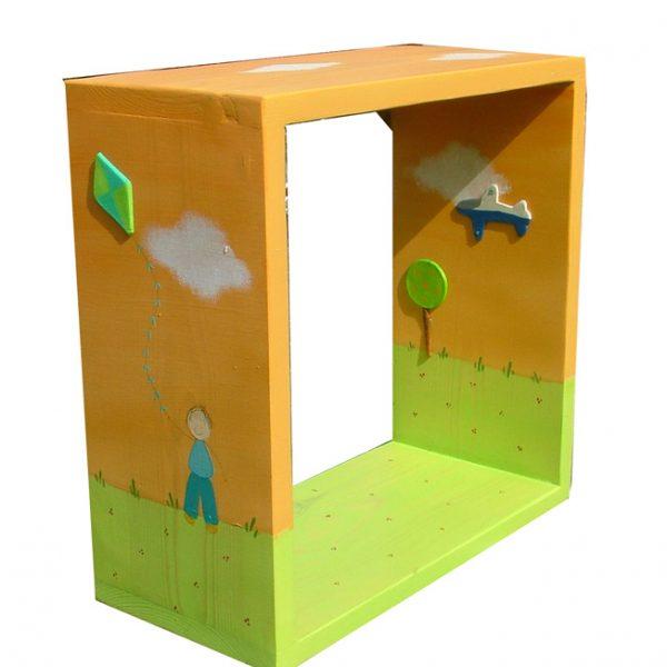כוורת לחדר ילדים - ילד עם עפיפון ואוירון בשקיעה