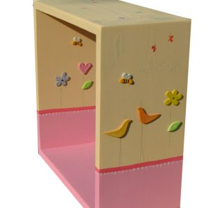 מדף מעוצב לחדר ילדות - ציפורים ופרחים