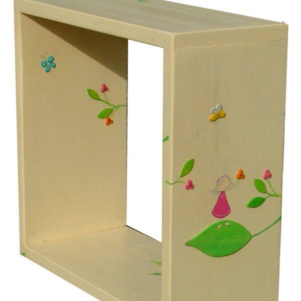 מדף ריבוע -ילדה פרפרים ועלים