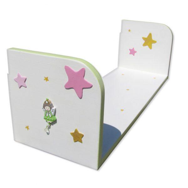 מדף מעץ לחדר ילדות – פיה וכוכבים