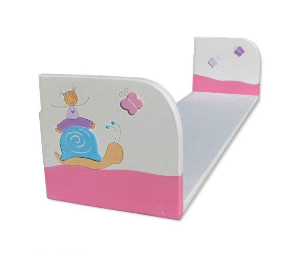 מדף מעוצב לחדר ילדות - ילדה עם פרפרים וחלזון