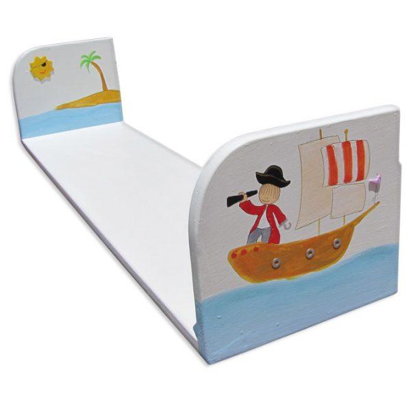 מדף מעוצב מעץ – פיראט בסירה