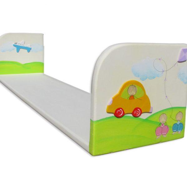 מדף לצעצועים בחדר ילדים – מכונית, אוירון וילדים