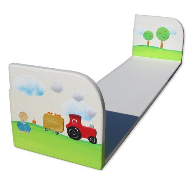 מדף אחסון לחדר ילדים – טרקטור ועגלת התבואה
