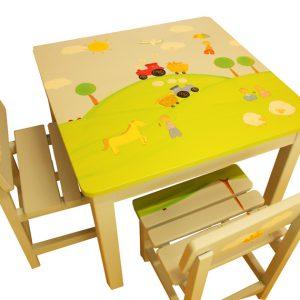 שולחן וכסאות לחדר ילדים - טרקטורים בשדות המושב