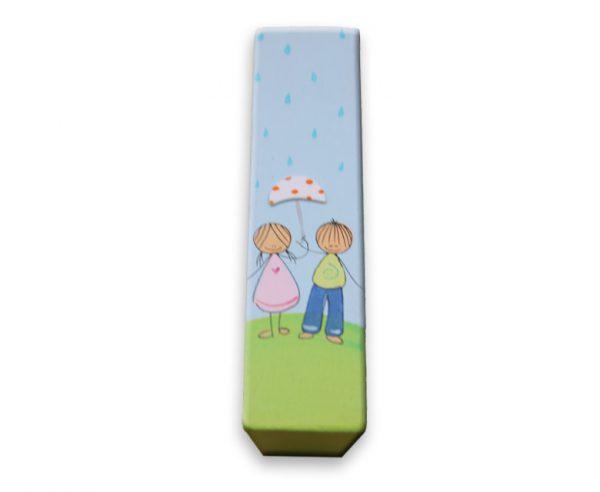 ידית לחדר ילדים - ילדה וילד עם מטריה