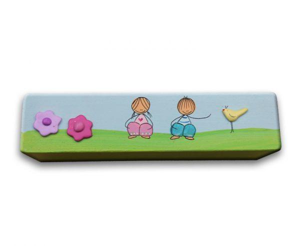 ידית לחדר ילדים - ילדים מתוקים עם פרחים וציפור