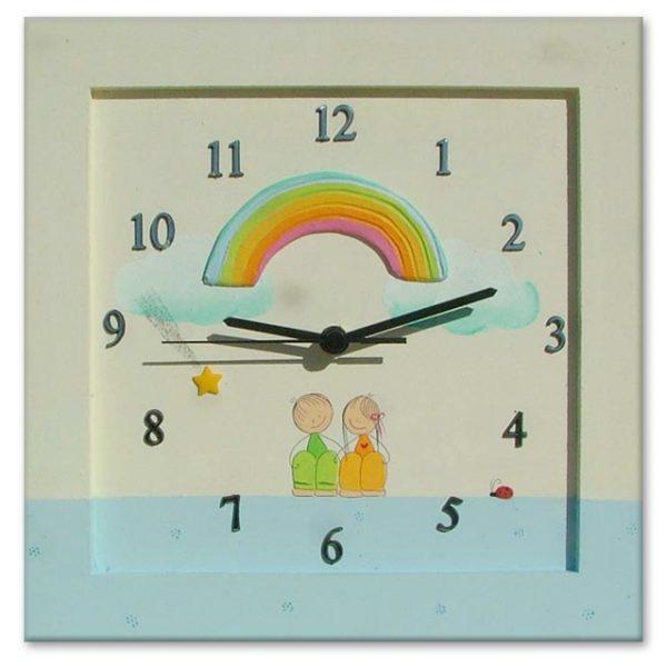שעון קיר - ילדים עם קשת צבעונית