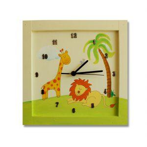 שעון לחדר ילדים ג'ירפה ואריה