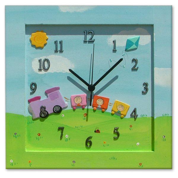 שעון קיר לילדים - רכבת בין הרים