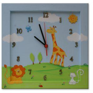 שעון לחדר ילדים - אריה ג'ירפה וחתול
