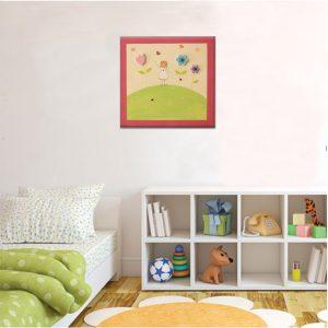 תמונה לחדר ילדות – ילדה יפה עם פרחים