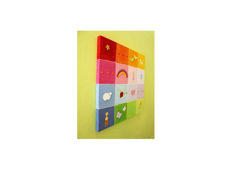 תמונה לחדר ילדים – ריבועים ותבליטים צבעוניים