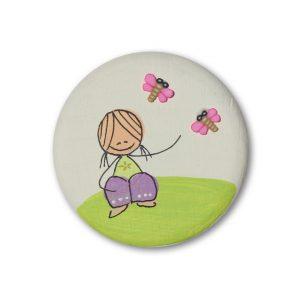 ידית מעוצבת - ילדה עם פרפרים