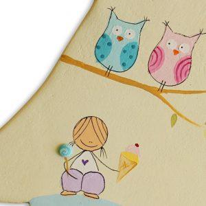 חמסה מעוצבת - ילדה עם ינשופים