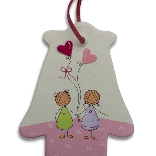 חמסה מעוצבת - ילדות יפות עם לבבות