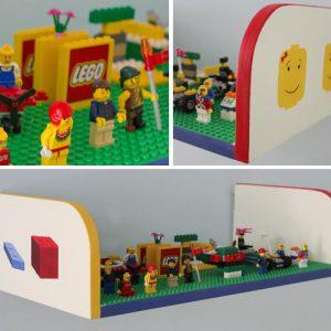 מדף לאחסון צעצועים – בעיצוב לגו