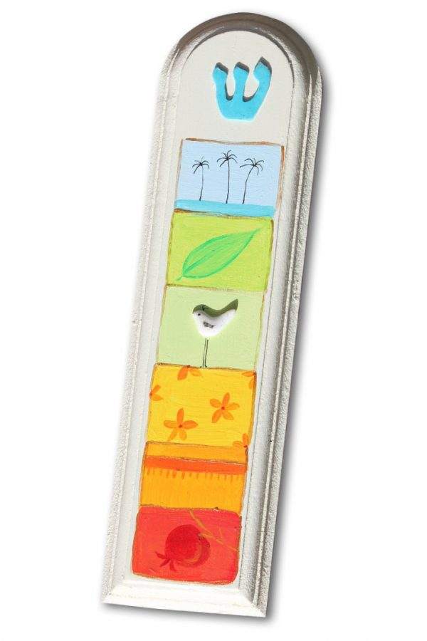 מזוזה עבודת יד - 5 ריבועים צבעוניים