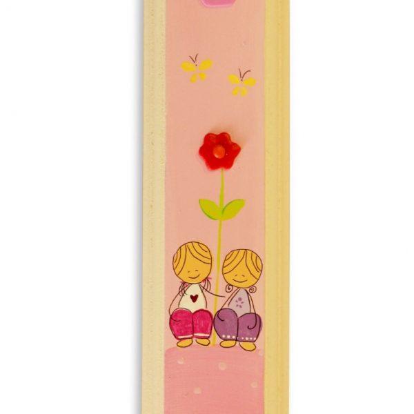 מזוזה מעוצבת - ילדות מתוקות עם פרח