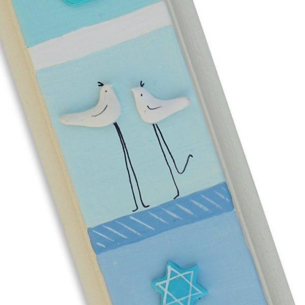 מזוזה עבודת יד זוג ציפורים עם מגן דוד