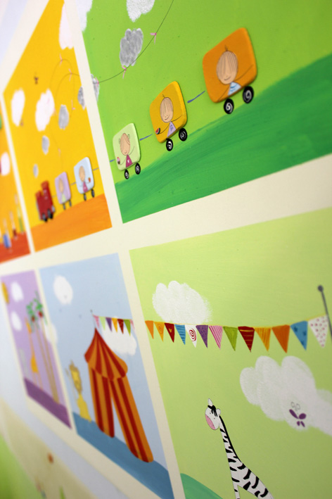תמונה מעוצבת לחדר ילדים – רכבת וחיות הקרקס