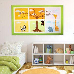 תמונה לחדר ילדים – חיות הג'ונגל בחלונות