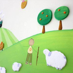 תמונה לחדר ילדים – טרקטורים חורשים בתלמים
