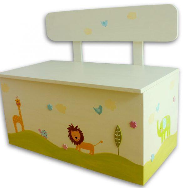 ספסל אחסון לחדר ילדים – חיות ג'ונגל