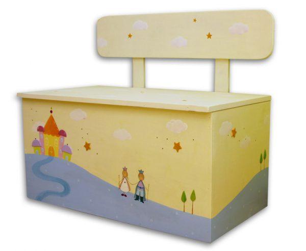 ספסל אחסון צעצועים לילדים – נסיכה, נסיך וארמון