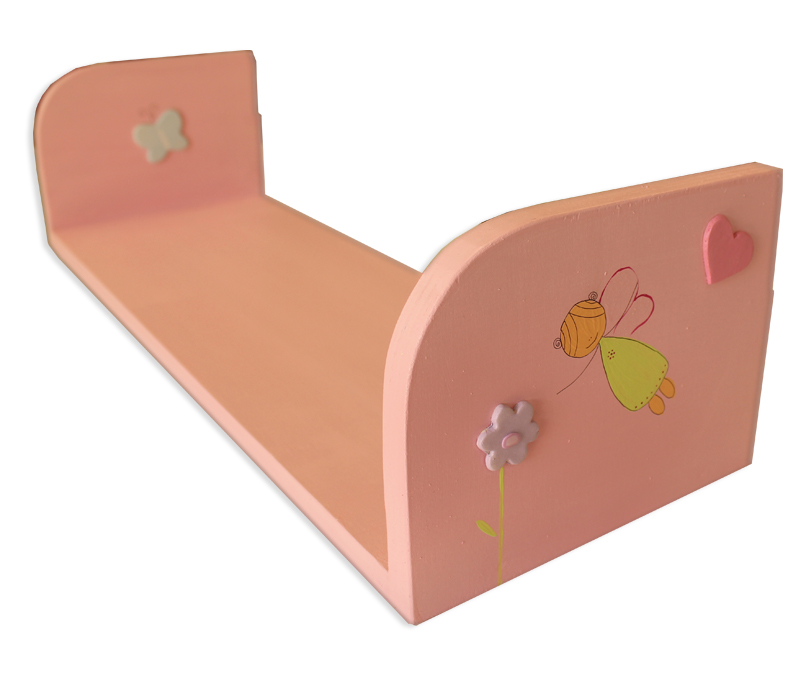 מדף מעוצב בגווני ורוד עם פרחים