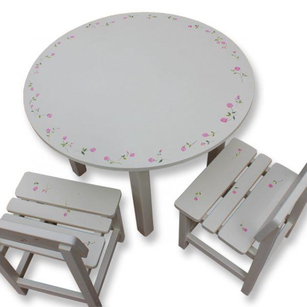 שולחן וכסאות מעוצבים לילדים - שושנים - לורה אשלי