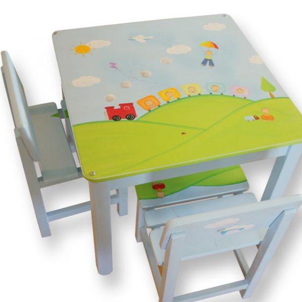 שולחן וכסאות לילדים - רכבת בין הרים