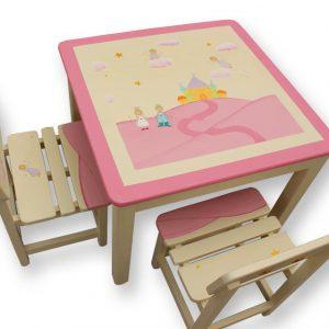 שולחן וכסאות לילדים - נסיכה, נסיך וארמון קסום