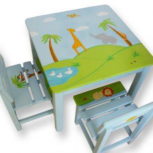 שולחן וכסאות מעוצבים לילדים - פיל, ג'ירפה, תוכי וברווזים באגם