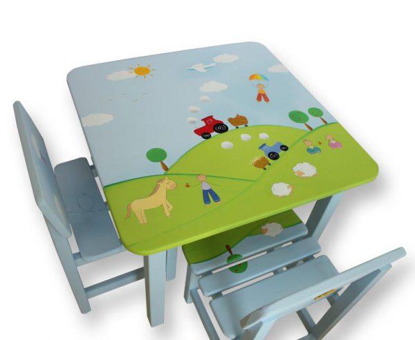 שולחן וכסאות לילדים - סוסים וכבשים