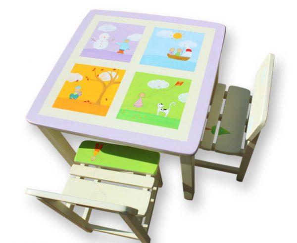 שולחן וכסאות לחדר ילדים - חורף קיץ סתיו אביב