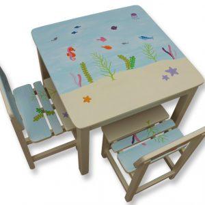 שולחן וכסאות לילדים - עולם המים הקסום